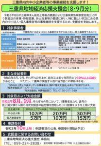 三重県地域経済応援支援金 8・9月のサムネイル